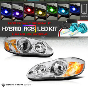For 03 08 Toyota Corolla Clear Headlights Signal Set multi color Led Low Beam