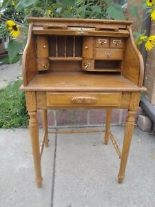 Vtg Solid Oak Secretary Desk Table Chippendale Style Roll Up Top One Drawer