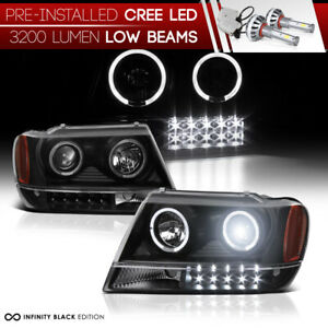 integrated Led Bulb Halo Headlight For 99 04 Jeep Grand Cherokee Laredo Wj Wg