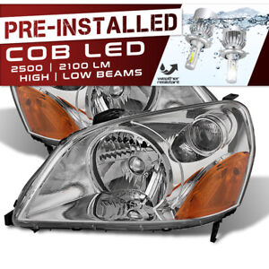 cree Led Bulb Installed 03 05 Honda Pilot Chrome Replacement Headlight Assembly