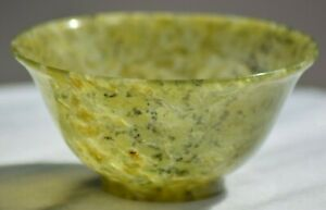 Antique Hand Carved Chinese Spinach Green Nephrite Jade Bowl
