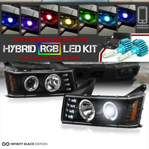 04 12 Chevy Colorado canyon Black Angel Eyes Projector Head Lamp rgb Led Bulbs