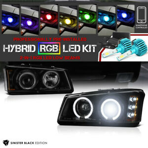 Coolest 03 06 Silverado Sinister Black Smoked Projector Headlight Rgb Led Bulb
