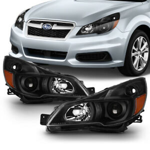 10 14 Subaru Legacy outback Projector Headlight Lamp Factory Style Black Housing