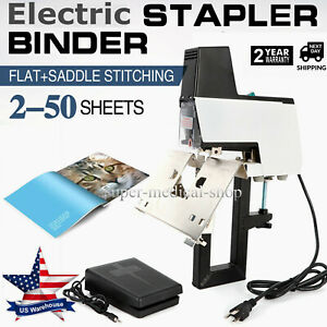 Us Electric Auto Stapler 110v 106 Flat Saddle Book Binder Machine 2 50 Sheet