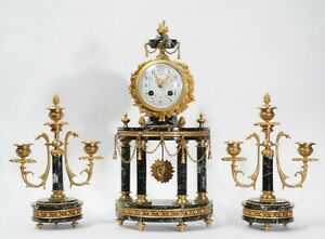 Ormolu And Specimen Green Marble Portico Antique French Clock Set C1900 Mougin
