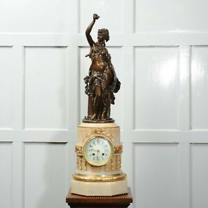 H F Moreau La Rose Bronze And Onyx Antique French Clock Japy Freres C1890