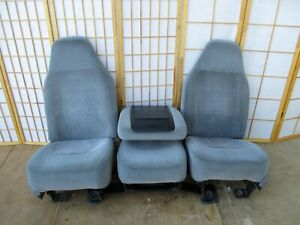 92 96 Ford Bronco F Series Pickup Gray Interior Bucket Seats W jump Seat Console