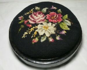 Antique Black Floral Needlepoint Foot Stool Wooden Base Footstool Footed