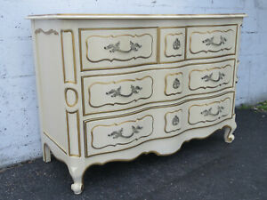 French Carved Painted Small Dresser With Gold Highlights By Drexel 9641
