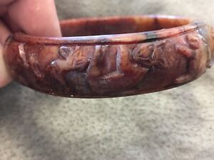 Estate Hand Carved Old Jade Year Of Bracelet