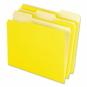 Interior File Folders 1 3 cut Tabs Letter Size Yellow 100 box