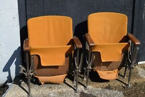 1930 S Antique Vintage Folding Movie Theater Chair Wood Frame Orange Cushions