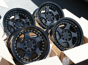 Used Set 15x8 Aodhan Ah01 4x100 114 3 20 Black Rims Wheels