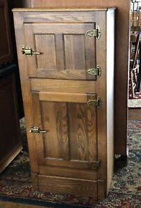Antique Oak 2 Door Ice Box With 2 Compartments Use As Bar Or Storage Cabinet