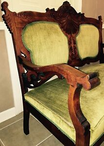 Reduced Antique Settee Couch Sofa Chair Bench Carved Wood French Green Velvet