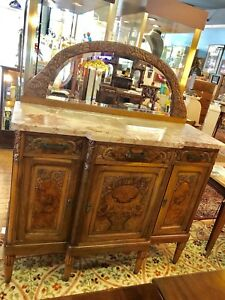 Art Deco Oak Marble Top Carved Sideboard Server