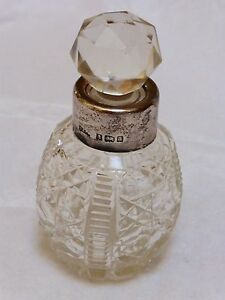 Antique 19c English Cut Glass Or Crystal Sterling Silver Perfume Bottle