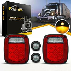 Red white 39led Stop Turn Tail Light Amber Round Side Marker For Truck Trailer