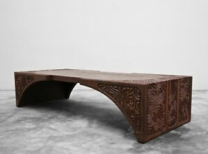 Mid Century Carved Wood Panelcarve Coffee Table By Sherrill Broudy Witco