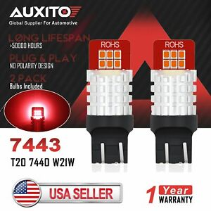 2x Auxito 7443 7440 W21w 2835 Led Brake Tail Stop Back Up Reverse Light Bulbs