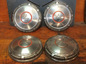 4 Oe Stainless Mopar Red Line Dog Dish Hubcaps Plymouth Chrysler Dodge Hemi R T