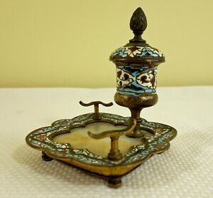 Antique Champleve Inkwell With Onyx Insert Possibly Russian