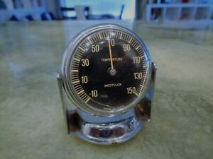 Vintage Ultra Rare Westclox Temperature Gauge Black Chrome Antique Auto Part Usa