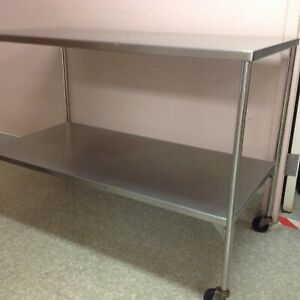 Or Instrument Table 4x2 Rolling Stainless Steel Used Excellent