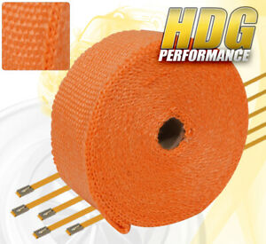 30ft X 2 X 1 5mm Heat Wrap Thermo Shield Exhaust Pipe Stainless Zip Tie Orange