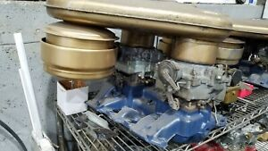1954 1955 1956 Cadillac Dual Quad Intake Manifold carbs bat Wing Air Cleaner