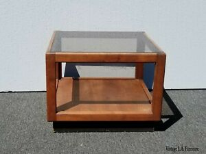 Vintage Mid Century Danish Modern End Table W Smokey Glass