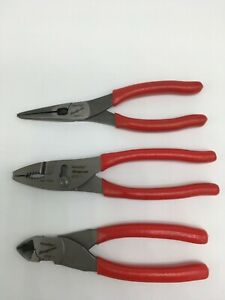 New Snap On 3 Piece Pliers Cutters Set 47cf 196cf 87cf