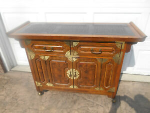 Awesome Vintage Bernhardt Chinese Burl Walnut Dry Bar Server Sideboard Buffet