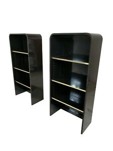 High Gloss Mid Century Pair Of Wall Shelves With Brass Accents Pace Style