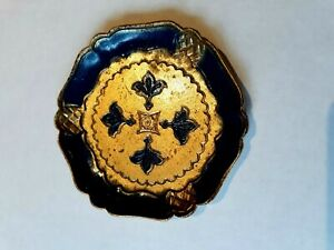 Vintage Italian Florentine Tole Wood Coaster Royal Blue And Gilt Gold