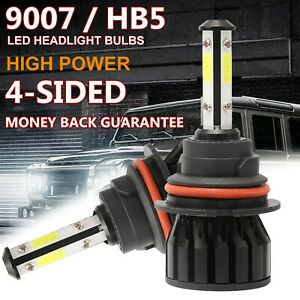 9007 Hb5 Cree Led Headlight 2000w 240000lm 4 Sided Bulbs 6000k White High Power