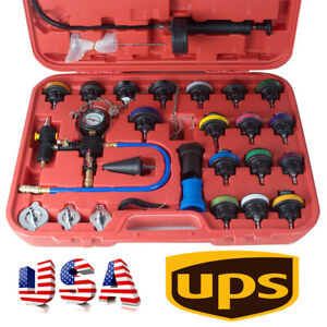 27 Pcs Universal Radiator Pressure Tester Kit For Car Cooling System Water Test