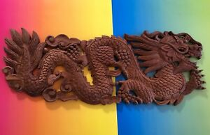 Chinese Antique Hand Carved Dragon Wood Wall Hanging East Asian Fortune