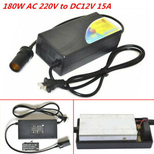 180w Ac 220v To Dc12v 15a Car Cigarette Lighter Switching Dc Power Adapter