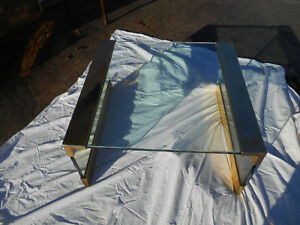 Vintage 1960 S Mid Century Modern Brass Large Square Glass Top Coffee Table
