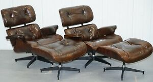 Pair Of Vintage Heritage Brown Leather Lounge Armchairs Matching Ottoman Eames