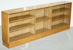 Large Sideboard Sized Light Mahogany Bookcase 233cm Wide 87 5cm Tall Glass Doors