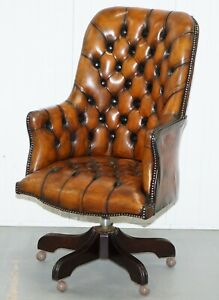 Restored 1960 S Chesterfield High Back Brown Leather Directors Captains Chair A1