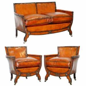 Studded Edwardian Restored Whisky Brown Leather Tub Club Suite Sofa