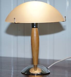 Cool Mid Century Modern Style Table Lamp With Opalescent Shade Chrome