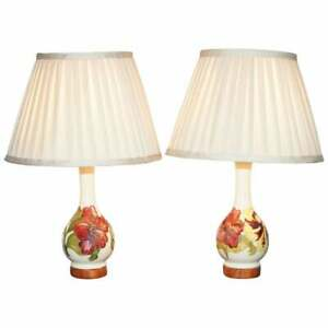 Pair Of Vintage Moorcroft Vase Lamps Fully Restored And Converted Lovely Pair