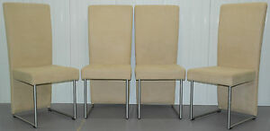 Set Of Four Rrp 3600 Suspended Seat Rolf Benz Cream Suede Leather Dining Chairs