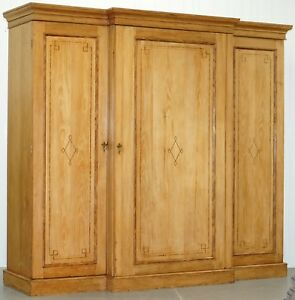 Huge Victorian Breakfront Pine Wardrobe Built In Chest Of Drawers Linen Shelves