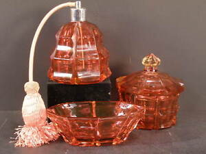 1900 Cut Cranberry Glass Dresser Vanity Set Perfume Bottle Jewelry Box Jar Dish